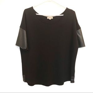 Smart Set black top with leather details s…
